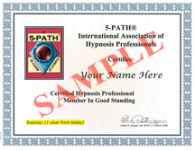 5-PATH International Association of Hypnosis Professionals Certification