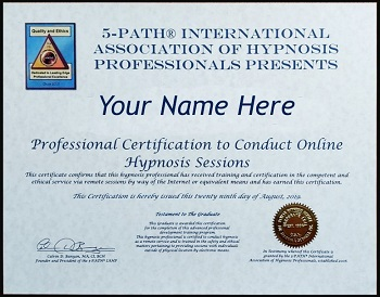 5-PATH® IAHP Sample Certificate to Conduct Hypnosis Sessions Online