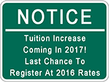 Tuition Increase Coming in 2017