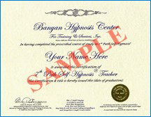 Sample Certificate to Conduct Online Hypnosis Sessions