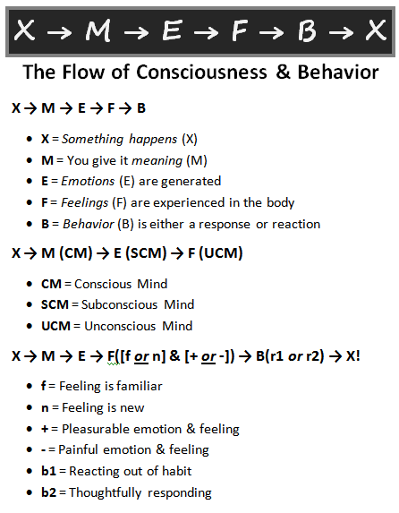 graphic example of flow of consciousness and behavior