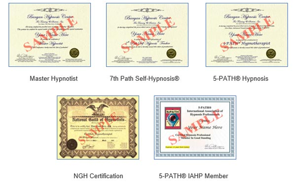 Sample Banyan Hypnosis Certification Courses Certificates